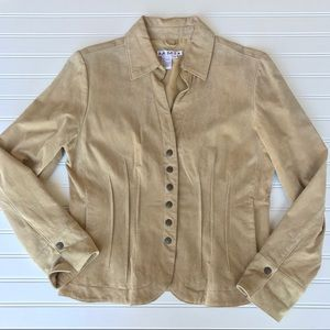 AMI Genuine Leather Jacket, Tan, Lined, Size M